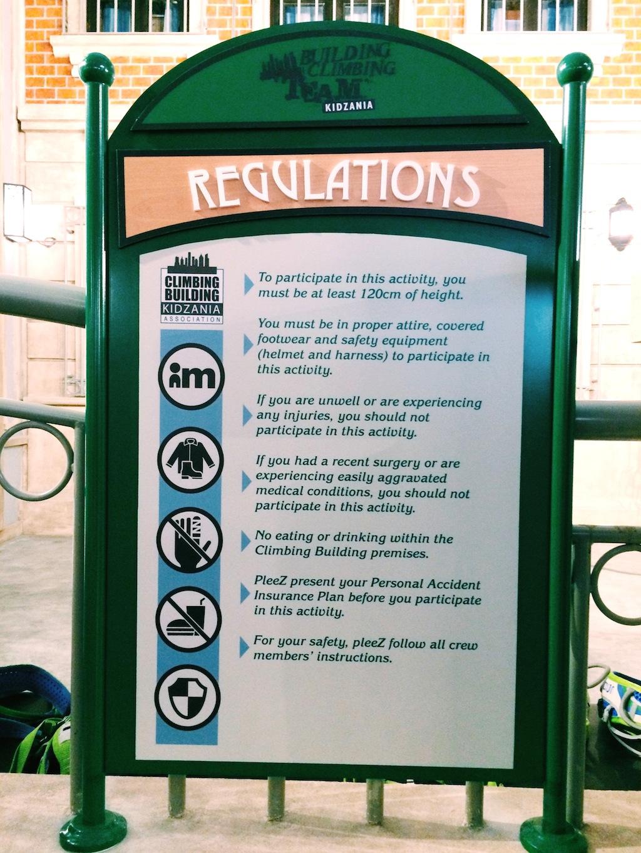 KidZania Singapore - Regulations