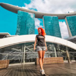 Young woman in Marina Bay Sands, Singapore
