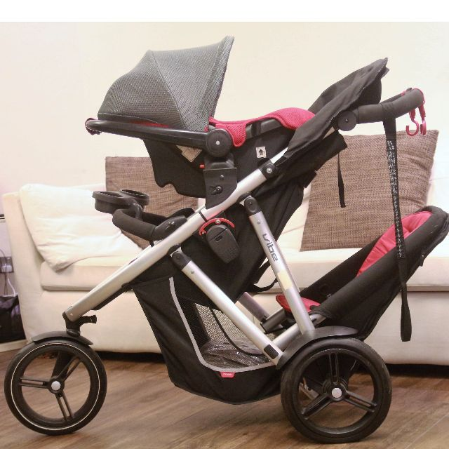 phil teds vibe double stroller with raincover capsule car seat cup holder. Black Bedroom Furniture Sets. Home Design Ideas